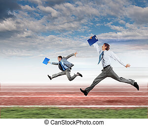 Business people competing - Image of business people running...
