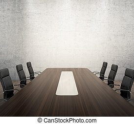 Meeting room - 3D render of meeting room with wooden table...