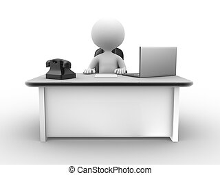 Office - 3d people - man , person at a office with a laptop