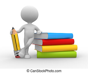 Books and a pencil - 3d people - man, person with books and...