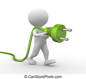 Electric plug - 3d people - man, person with a electric plug...
