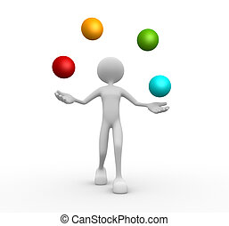 Balls - 3d people - man, person juggle with a spheres. Balls...