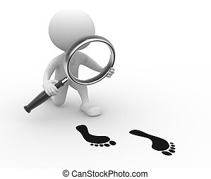 Magnifying glass and footprint - 3d people - man, person...