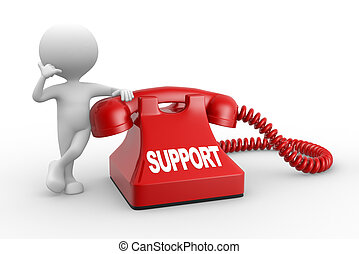 Support - 3d people - man, person and phone Support