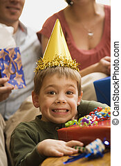 Boy at birthday party - Caucasian boy at birthday party...