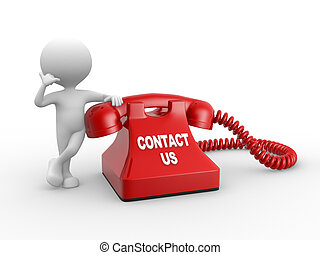 Contact us - 3d people - man, person and red phone Contact...