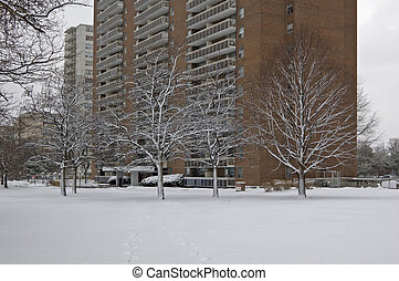 Brick building in Toronto city on snow background