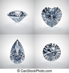 Set of diamonds - 3D illustration of diamonds isolated on...