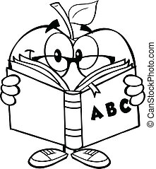Outlined Apple Teacher With A Book