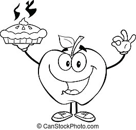 Outlined Apple Holding Up A Pie
