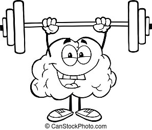 Outlined Brain Lifting Weights - Outlined Happy Brain...