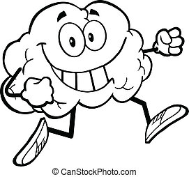 Outlined Healthy Brain Jogging - Outlined Healthy Brain...