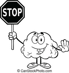 Outlined Brain Holding A Stop Sign - Outlined Brain Cartoon...