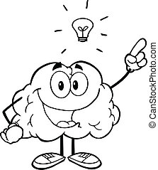 Outlined Brain With A Big Idea - Outlined Happy Brain...