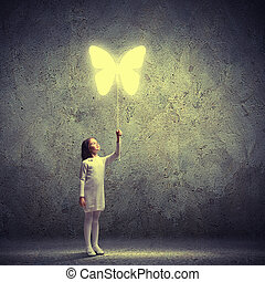 Little cute girl with butterfly balloon - Image of little...