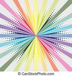Rainbow burst with halftone on grayish background