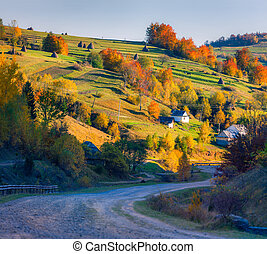 Beautiful autumn day in the mountains village
