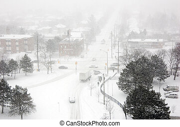 Snowstorm on streets of North York, Ontario