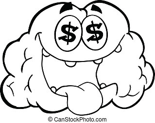 Outlined Money Loving Brain