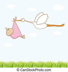 gólya, hoz, csecsemő, leány