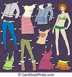 fashion girl - paper doll body with cloths for her. this...