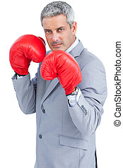 Tough businessman with boxing gloves