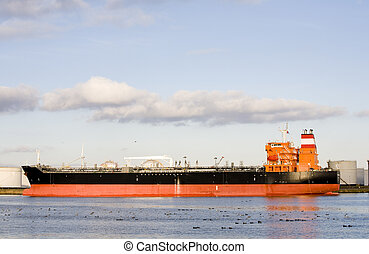 Tanker in the port of Amsterdam, the Netherlands