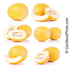 Set fresh honeydew melon isolated on a white background
