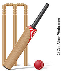 set equipment for cricket illustration isolated on white...