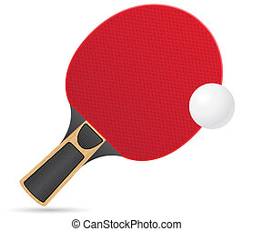 racket and ball for table tennis ping pong illustration...