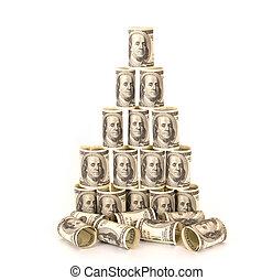 Hundred dollar bills money pile
