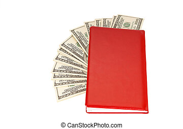 Hundred dollar bills money pile in a red notebook