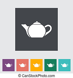 Kettle Single flat icon Vector illustration