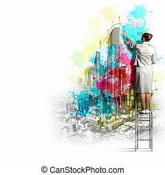 Back view of businesswoman drawing colorful business ideas...