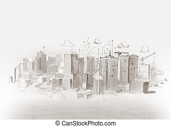Construction sketch - Hand drawing of urban scene....