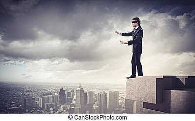 Businessman in blindfold - Image of businessman in blindfold...