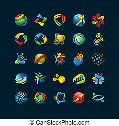 Set of 3d unique abstract icons on black