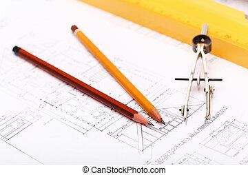 herramientas, papeles, dibujos