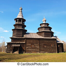 Ancient wooden church in Vitoslavici, Novgorod, Russia