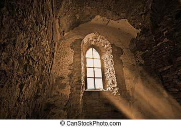 Mysterious ancient window - Mysterious window in the dark...