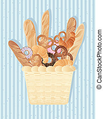 bread background - an illustration of a basket full of...