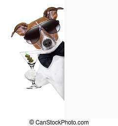 dog toasting with martini glass behind a blank placard...