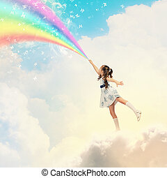 Little girl drawing rainbow - Image of little pretty girl...