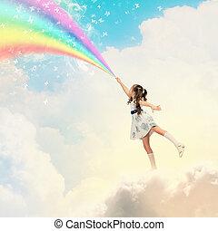 litet, flicka, teckning, regnbåge