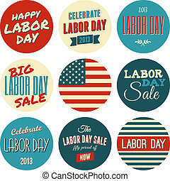 American Labor Day Sickers Collecti - A set of nine Labor...