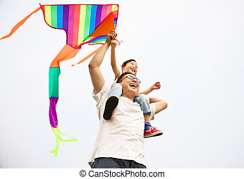 happy family with colorful kite