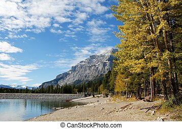 Lake Minnewanka in autumn,Canadian Rockies,Canada - Lake...