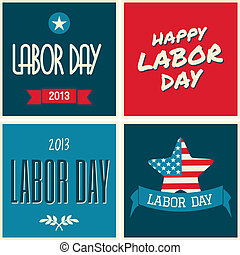 American Labor Day Collection - A set of retro typographic...