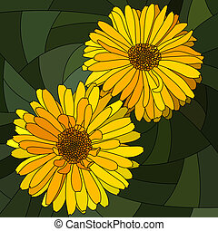 Mosaic of flower yellow calendula. - Vector mosaic with...