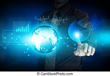 modern virtual technology - Business person working with...